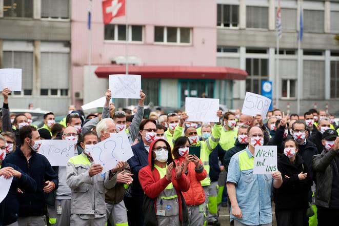 GE-Beschäftigte wehren sich mit Protest-Aktion gegen Abbau
