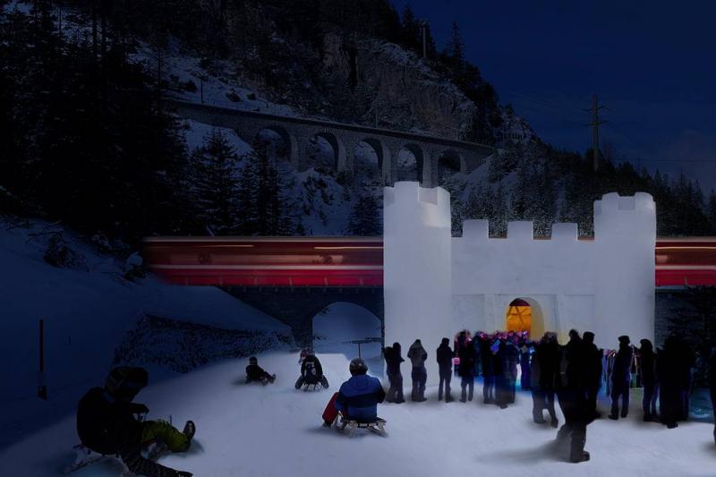 Einzigartiger Zwischenhalt im Schneeschloss Preda - Bergün